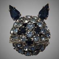 Vintage Signed Warner Blue Rhinestone Kitty Cat Brooch