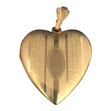 Victorian Signed W&H Gold Filled Heart Locket No Monogram