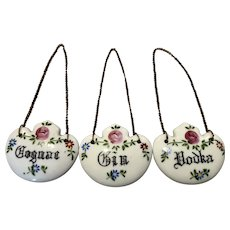 Vintage Porcelain Decanter Tags Liquor Labels Floral Vodka Cognac Gin