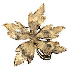 Vintage Brushed Gold Tone Monet Leaf Brooch