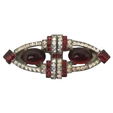 Outstanding Art Deco Ruby Glass and Rhinestone Dress Clips Duette