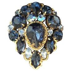 Gorgeous Vintage REGENCY Signed Blue Art Glass Brooch