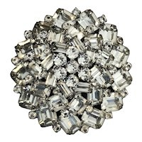 "Vintage Large 2.5"" WEISS Rhinestone Domed Brooch Pin"