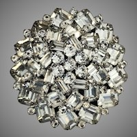"""Vintage Large 2.5"""" WEISS Rhinestone Domed Brooch Pin"""
