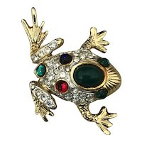Vintage Sphinx Figural Rhinestone and Cabochon Frog Brooch Pin