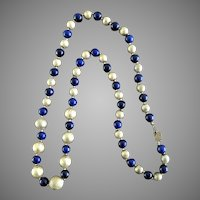 Vintage Signed Miriam Haskell Cobalt Blue Necklace w/ Tag