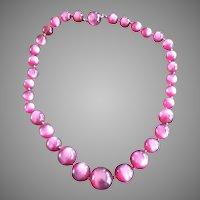 Moonglow Lucite Raspberry Fuschia Necklace