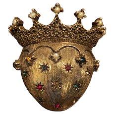 VINTAGE JEANNE Sign Faux Pearl, Multi-Color Gem Crowned Heart Brooch Pin
