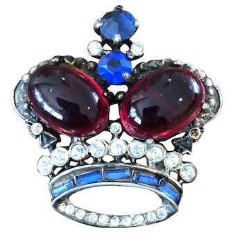 Vintage Marked Sterling Crown Brooch Pin Glass Cabochons and Rhinestones