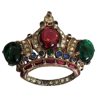 Vintage CoroCraft Sterling Regal Crown Brooch Pin Jelly Cabachons