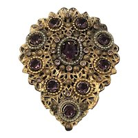Vintage Amethyst Glass, Faux Pearls and Filigree Brass Dress Clip