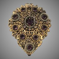 Vintage Amethyst Glass, Faux Pearls and Filigree Brass Brooch