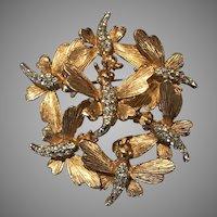 Vintage Boucher 7 Butterflies Rhinestone Trembler Brooch Pin