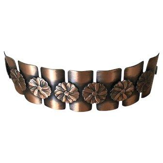 Rare Vintage Copper Signed Rebajes Modernist Dogwood Bracelet