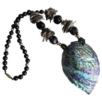 RARE Vintage Abalone Shell Necklace Statement Piece