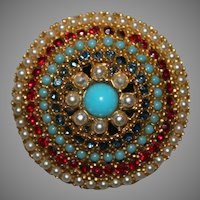 Signed Arthur Pepper ART Domed Brooch w/ Rhinestones, Faux Pearls & Turquoise
