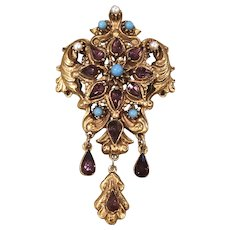 Vintage Florenza Goldtone Faux Garnet Turquoise Pearl Pendant