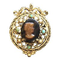 Vintage Signed Florenza Cameo Brooch Faux Tortoiseshell