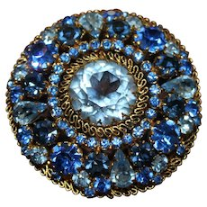 Gorgeous Vintage Marked Austria Domed Blue Rhinestone Filigree Brooch Pin