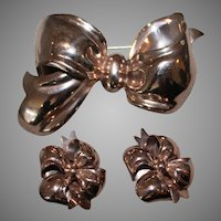 Vintage MONET Sterling Silver Puffy Bow Pin Brooch & Earring Set