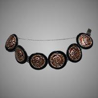 Vintage Margot De TAXCO Mexico Sterling Enamel Bracelet