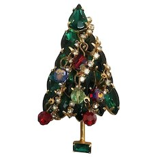 Outstanding 3-Dimensional Christmas Tree Brooch Pin w/ Dangling Ornaments