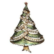 Vintage JJ Jonette Rhinestone & Goldtone Christmas Tree Brooch Pin