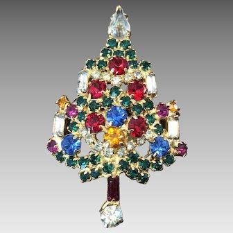Vintage Warner Christmas Tree Pin Brooch w/ 4 Candles and Rhinestones