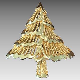 Vintage Signed Corel Goldtone Christmas Tree Pin Brooch