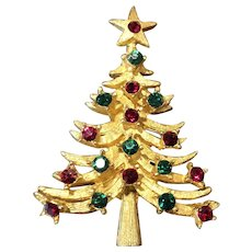 Vintage Signed MYLU Goldtone & Rhinestone Christmas Tree Pin Brooch