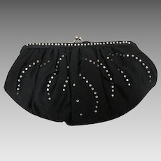 Vintage Magid Black Satin and Rhinestone Evening Bag Purse Clutch