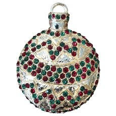 Vintage Large Rhinestone Christmas Ornament Brooch Pin