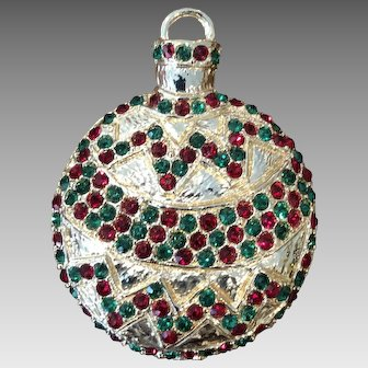 Vintage Large Rhinestone Christmas Ornament Brooch Pin