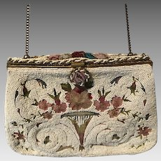 Vintage French Beaded and Embroidered Purse Bag