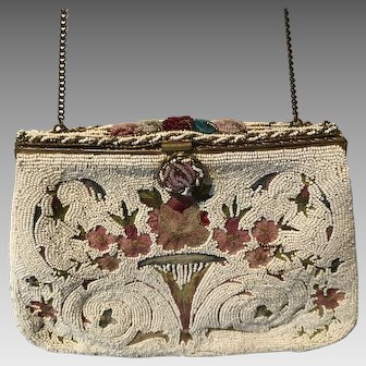 Vintage French Beaded and Embroidered Purse