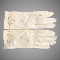 Vintage Leather Gloves Bone White W/ Lace Cutout Details Sz. 6