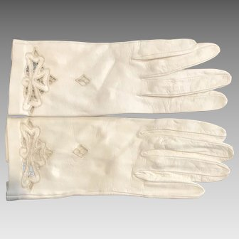 Vintage Leather Gloves Bone White W/ Lace Cutout Details Sz. 6