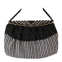Gorgeous French Beaded Striped Bag with Silk Lining