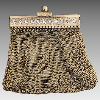 Germany US Zone Gold Mesh Change Purse With Rhinestones