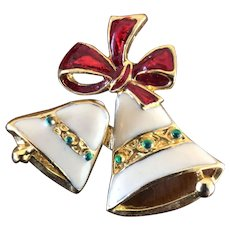 Vintage Enameled Trembler Christmas Bells Pin