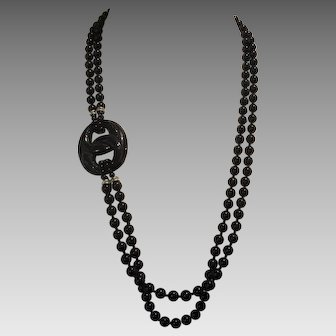 Vintage Black Onyx Double Strand Necklace With Side Pendant