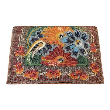 Outstanding Micro Seed Beaded 1960's Clutch Bag Purse