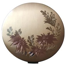 VTG Elgin American Powder Compact Art Nouveau Gold Tone Etch Oval Floral Design