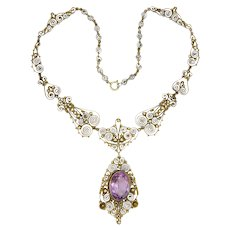 Scandinavian Antique Silver Gilt Amethyst Drop Necklace