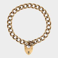 English Edwardian 9K Gold Rose Curb Bracelet - Heart Clasp
