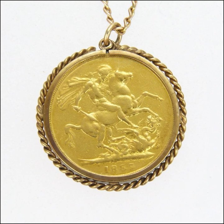 Victorian sovereign 22k gold pendant with 9k surround and 9k chain victorian sovereign 22k gold pendant with 9k surround and 9k chain aloadofball Images