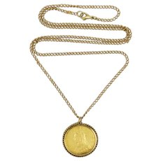 Victorian Sovereign 22K Gold Pendant with 9K Surround and 9K  Chain
