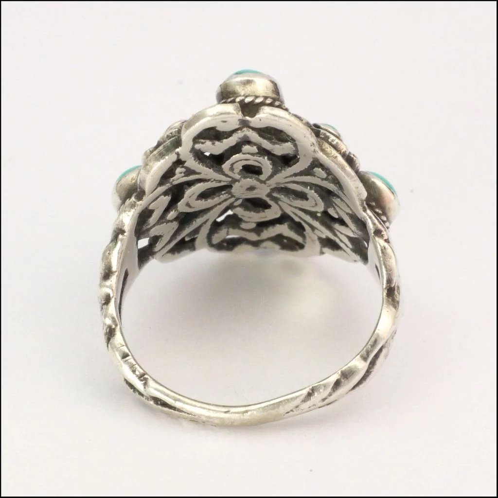 English Arts And Crafts Sterling Silver And Turquoise Ring