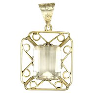 European Silver Gilt and Pale Citrine Pendant