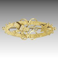 Victorian Silver Gilt Bow and  Ivy Leaf Pin -1894